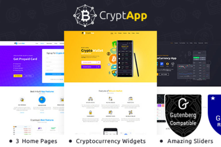 CryptApp Landing Page v1.3 – Cryptocurrency Theme