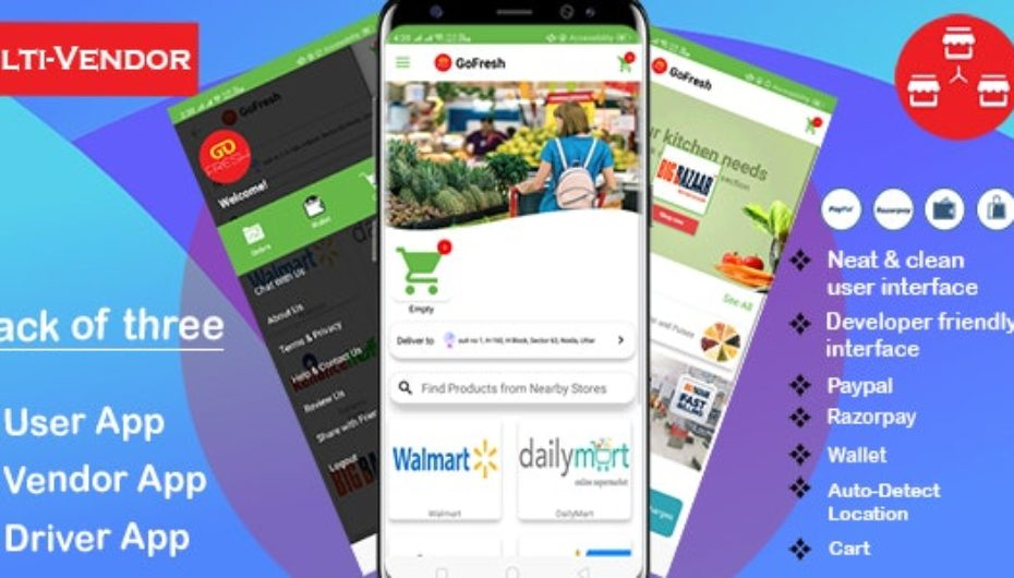 Multi Vendor Grocery Android App with Backend v1.0.1 – Bigbasket Grofers Happyfresh Clone